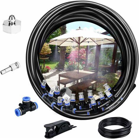 Système de brumisation,10M Système d'irrigation Système de brumisateur extérieur Système Refroidissement Idéal pour Gazebo Jardin Patio 12 Buse (Noir)