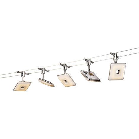 Système de câble de tension Moderne carré chromé avec LED - Tubos 5 Qazqa Moderne Luminaire interieur