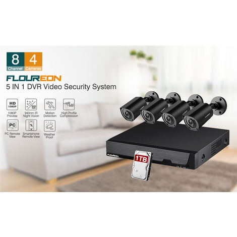 Système de caméra de sécurité FLOUREON 8CH DVR Enregistreur DVR 5 IN 1 1080N 4X HD 1080P CCTV Caméra infrarouge de vision nocturne Télécommande