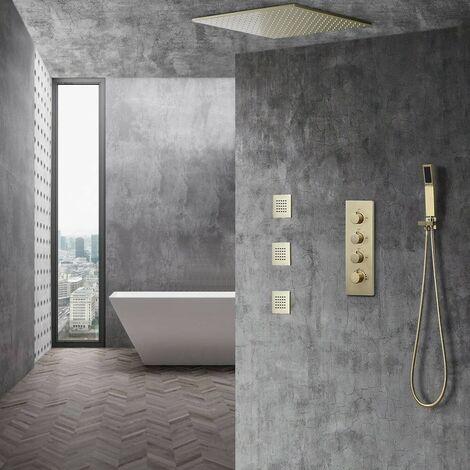 Système de douche à effet pluie au plafond - Doré brossé