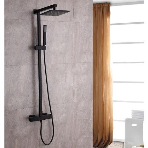 Système de douche combiné thermostatique SEDAL- 8921B Basic en noir - avec ou sans tête de douche: 22.5x22.5cm