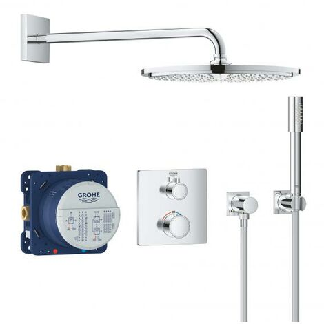 Système de douche encastré Grohe Grohtherm avec Rainshower Cosmopolitan 310, inverseur 2 voies intégré, 2 consommateurs, chromé 34730000 - 34730000