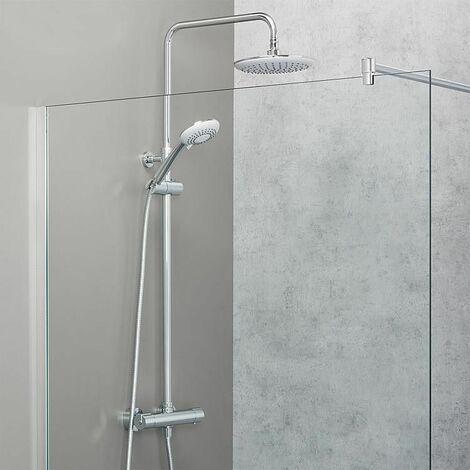 système de douche Moon composé de: tête de douche et douchette, mitigeur thermostatique, colonne douche télescope