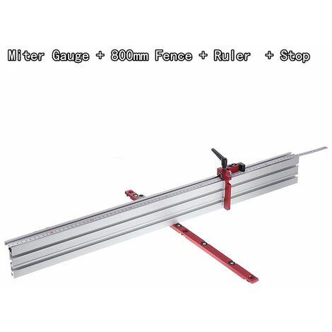 Système de jauge à onglets à angle de 0 à 90 degrés pour le travail du bois 450 mm (jauge à onglets avec cl?ture et butée de 800 mm)