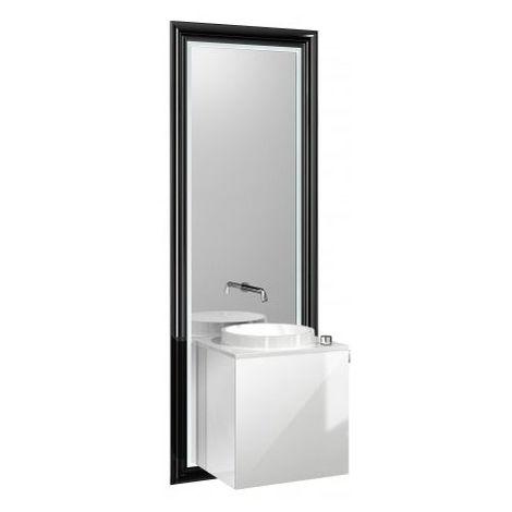 Système de meuble Emco touch 450 classic, poignée de porte droite, miroir, lave-mains, vasque, robinetterie, meuble-lavabo, Exécution: Cadre : noir, socle : optiwhite - 954729300