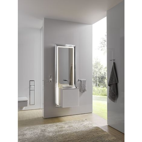 Système de meuble Emco touch 450 classic, poignée de porte droite, miroir, lave-mains, vasque, robinetterie, meuble-lavabo, Exécution: Piétement : chromé, élément bas : optiwhite - 954727800