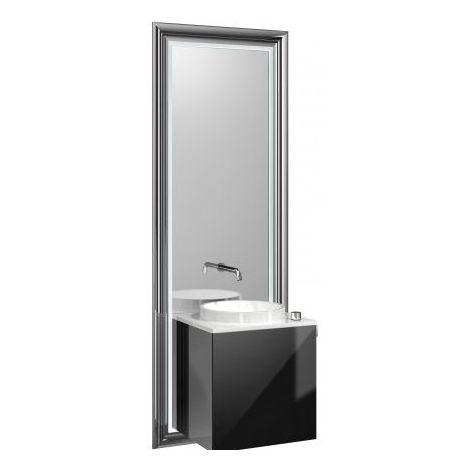 Système de meuble Emco touch 450 classic, poignée de porte droite, miroir, lave-mains, vasque, robinetterie, meuble-lavabo, Exécution: Piétement : chromé, Meuble bas : noir - 954727900