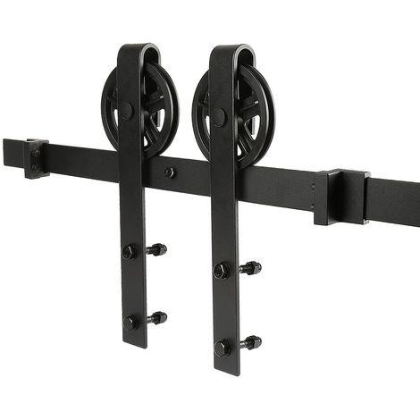 Système De Porte Kit de Rail pour Porte Coulissante en Acier Noir 200cm