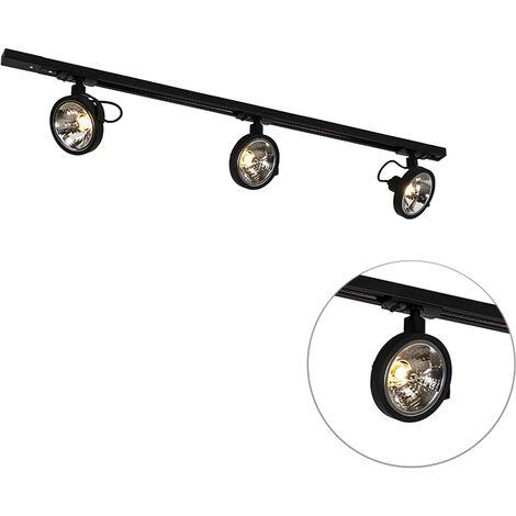 Système de rail à 3 Spot de Plafonds noir monophasé - Go Qazqa Moderne Luminaire interieur