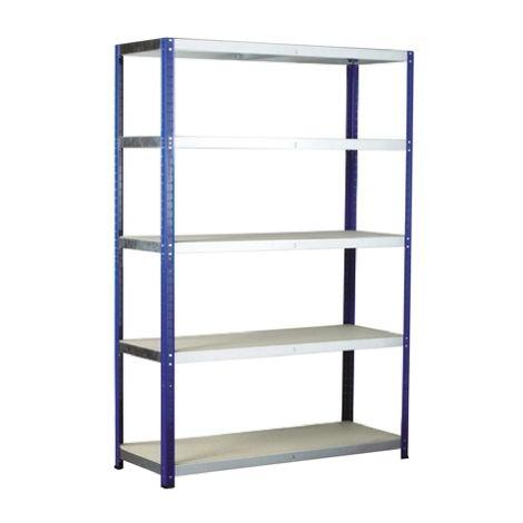 Système d'étagères, 5 niveaux, Aggloméré, acier galvanisé, Dimensions 1m x 450mm, 265kg
