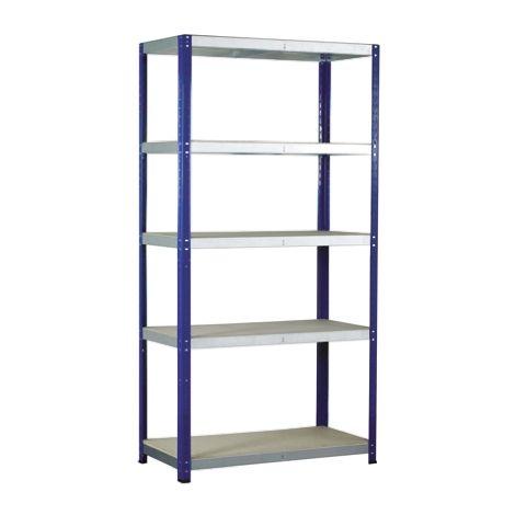 Système d'étagères, 5 niveaux, Aggloméré, acier galvanisé, Dimensions 900mm x 450mm, 265kg