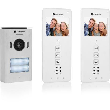 """Système d'interphone vidéo Smartwares DIC-22122 – 480p – Écran LCD de 3,5"""" (8,9 cm) – Caméra panoramique / inclinaison à 15° – Facile à installer – Étanche – 12 mélodies – Vision nocturne – Kit pour 2 appartements"""