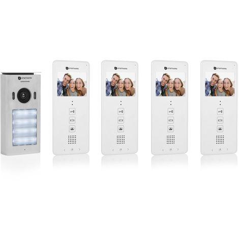 """Système d'interphone vidéo Smartwares DIC-22142 – 480p – Écran LCD de 3,5"""" (8,9 cm) – Caméra panoramique / inclinaison à 15° – Facile à installer – Étanche – 12 mélodies – Vision nocturne – Kit pour 4 appartements"""