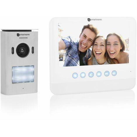 """Système d'interphone vidéo Smartwares DIC-22212 – HD 720p – Écran LCD de 7"""" (17,8 cm) – Caméra panoramique / à inclinaison – Fonction d'enregistrement automatique – Vision nocturne – Étanche"""