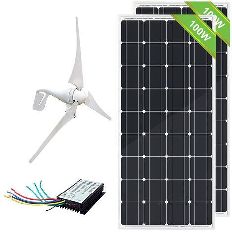 Système éolien hybride 600W: Contrôleur hybride 2 * 100W 12V Mono Panel Off Grid 20A