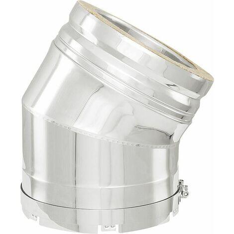Systeme gaz d'échappement double paroi Coude 30° - DN 160 pour basse pression (bande de serrage incluse)