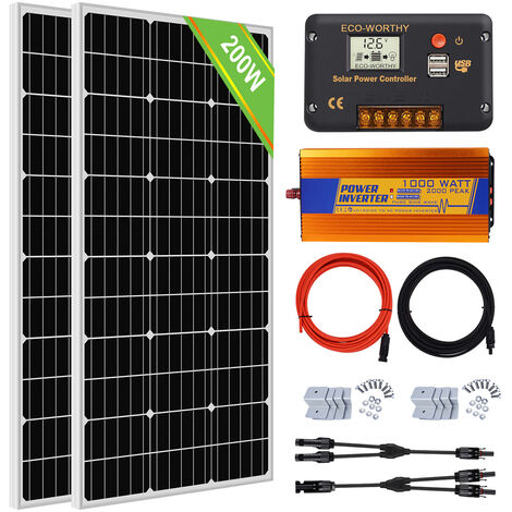 Système hors réseau 200W: dispositif 220V Inverter 220V pour panneau solaire 2 * 100W pour Home Camp