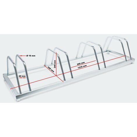 Système range vélo râtelier inclinable 4 vélos acier galvanisé garage pratique au sol ou mural