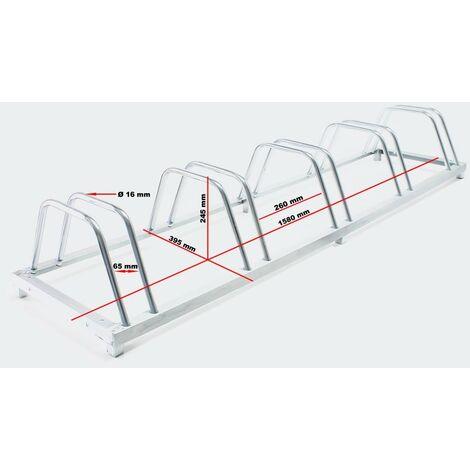 Système range vélo râtelier inclinable 5 vélos acier galvanisé garage pratique au sol ou mural