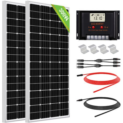 Système solaire 300W 2pcs Panneau solaire mono 150W avec contrôleur solaire hors kit de grille