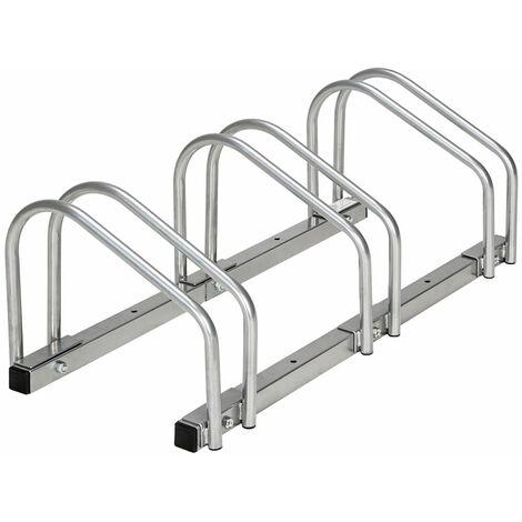 Système support range porte vélo râtelier inclinable 3 vélos garage pratique au sol ou mural acier