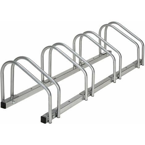 Système support range porte vélo râtelier inclinable 4 vélos garage pratique au sol ou mural acier
