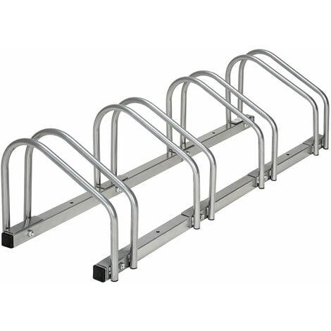 Système support range porte vélo râtelier inclinable 4 vélos garage pratique au sol ou mural acier - Or