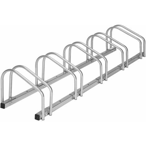 Système support range porte vélo râtelier inclinable 5 vélos garage pratique au sol ou mural acier