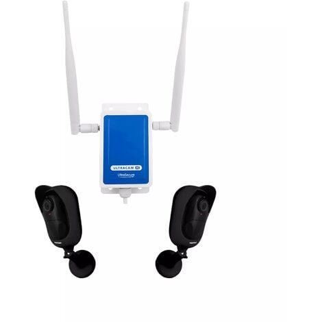 Système UltraCAM 4G vidéosurveillance extérieur sur smartphone - 2 caméras noires autonomes - Notifie / enregistre / FHD