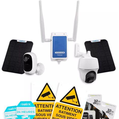 Système UltraCAM 4G vidéosurveillance sur smartphone - kit 2 caméras autonomes solaires - notifie / enregistre / FHD