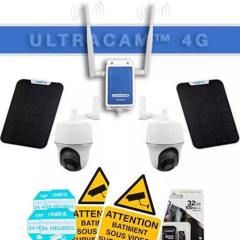 Système UltraCAM 4G vidéosurveillance sur smartphone - kit 2 caméras motorisées solaires - Notifie / enregistre / FHD