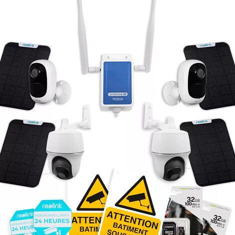 Système UltraCAM 4G vidéosurveillance sur smartphone - kit 4 caméras autonomes solaires - Notifie / enregistre / FHD