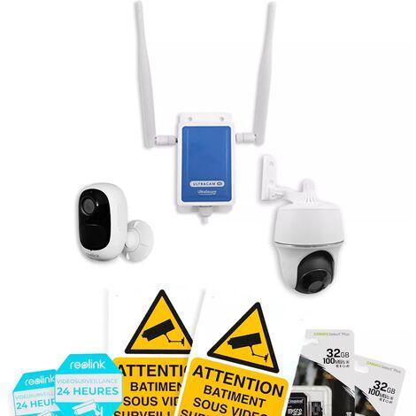 Système UltraCAM 4G vidéosurveillance sur smartphone - kit extérieur 2 caméras autonomes - Notifie / enregistre / FHD