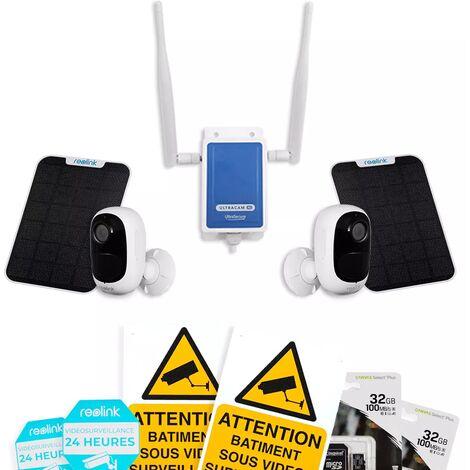 Système UltraCAM 4G vidéosurveillance sur smartphone - kit extérieur 2 caméras solaires - Notifie / enregistre / FHD