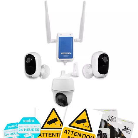Système UltraCAM 4G vidéosurveillance sur smartphone - kit extérieur 3 caméras autonomes - Notifie / enregistre / FHD