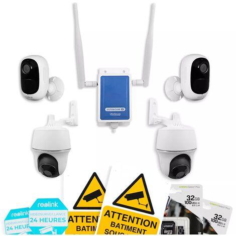 Système UltraCAM 4G vidéosurveillance sur smartphone - kit extérieur 4 caméras autonomes - Notifie / enregistre / FHD