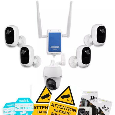 Système UltraCAM 4G vidéosurveillance sur smartphone - kit extérieur 5 caméras autonomes - Notifie / enregistre / FHD