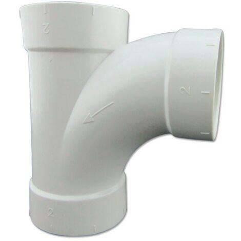 T Curvada 90º de PVC Conexión Hembra - Hembra para Aspiración Centralizada