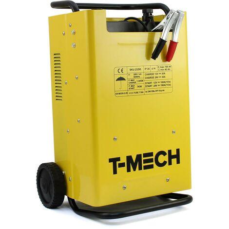 T-Mech - Cargador de Baterías Portátil Compatible con Baterías 12V y 24V de Coches, Furgonetas, Motocicletas y Barcos