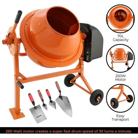 """main image of """"T-Mech Electric Cement Mixer, 70 Litre with 4pc Brick Block Laying Building Trowel Set"""""""