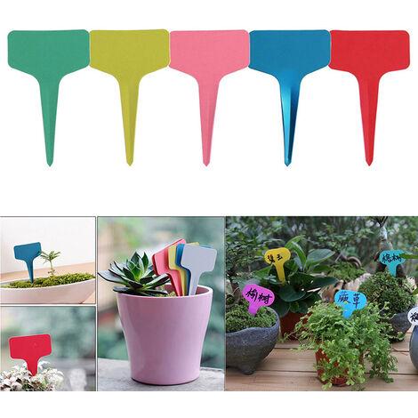 T-shaped flower label gardening label, plastic plant label, color label, 250pc, random color
