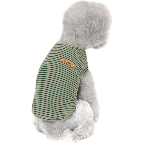 """main image of """"T-shirt basique pour chien à rayures sans manches 94% coton vêtements pour animaux de compagnie chemise d'été pour chien douce et respirante petite taille vêtements pour chat et chien (taille L jaune)"""""""