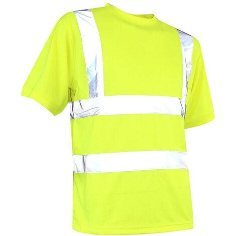 T-shirt coolpass manches courtes à col rond HV Classe 2 - Gamme Haute Visibilité - GYROPHARE - JAUNE - 951800 - LMA Lebeurre