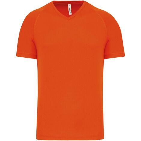 T shirt de sport manches courtes col v homme