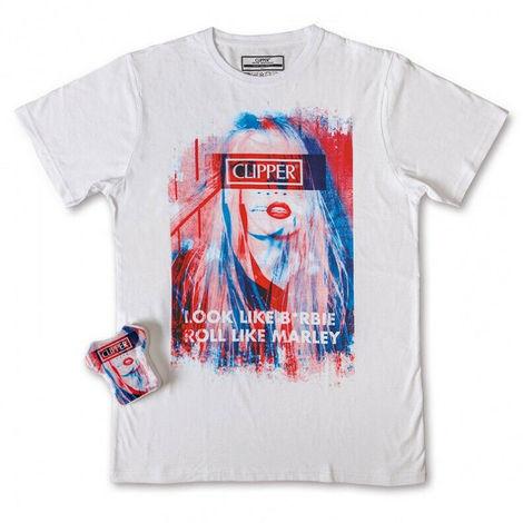 T-shirt maglia magic in cotone clipper b*rbie girocollo bianca taglia m unisex