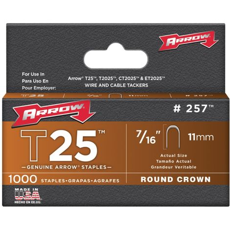 T25 Staples Arrow Fastener - 11mm - Pack of 1000 Replacement Staples