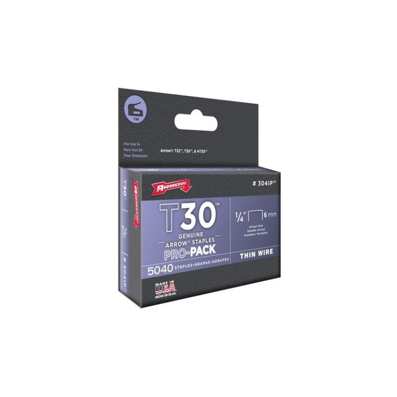Image of Arrow A304IP T30 Staples 304IP 6mm (1/4in) Box 5040