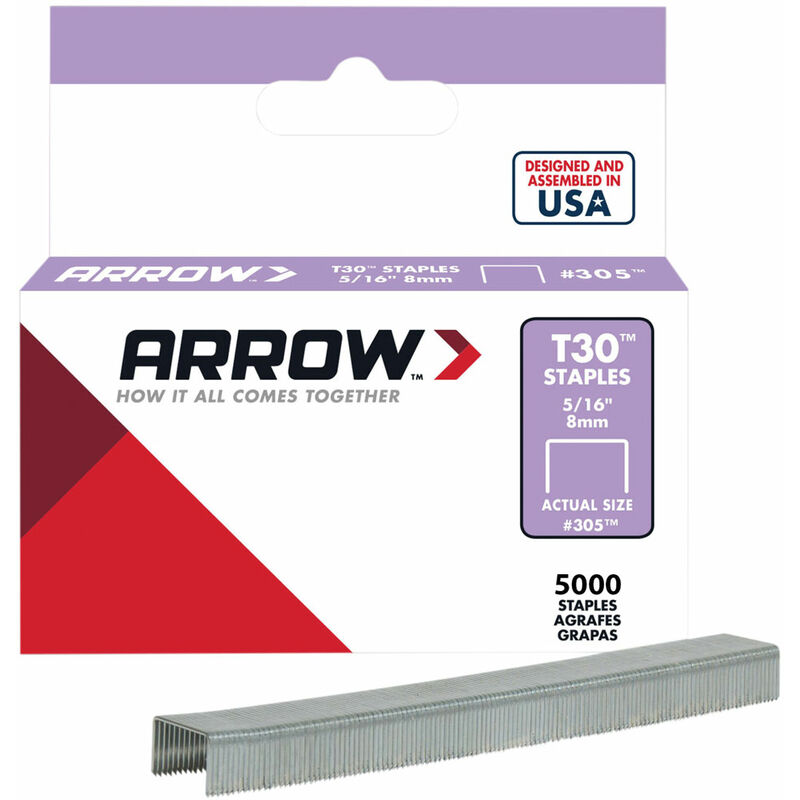 Image of Arrow A305IP T30 Staples 305IP 8mm (5/16in) Box 5000