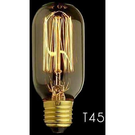 T45 Vertical Bombilla de filamento E27 40W Edison Vintage Decoracion Industrial