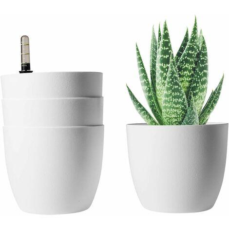 T4U Bac à Fleurs Auto-Irrigation Blanc 15.5 * 13cm en Plastique Rond Lot de 4, Pot avec Réserve d'eau et Indicateur de Niveau d'eau Pot avec Système d'arrosage